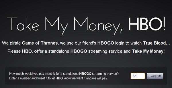 Aparece iniciativa que pide a HBO cobrar solamente por el servicio HBOGO - take-my-money-hbo
