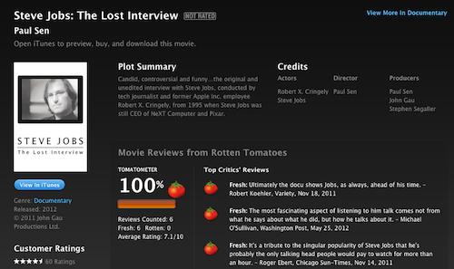 Captura de pantalla 2012 07 04 a las 12.52.51 La Entrevista Pérdida de Steve Jobs disponible en iTunes, pero solo para Estados Unidos