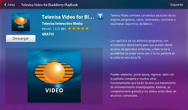 Televisa video blackberry playbook Televisa Video para BlackBerry Playbook está disponible