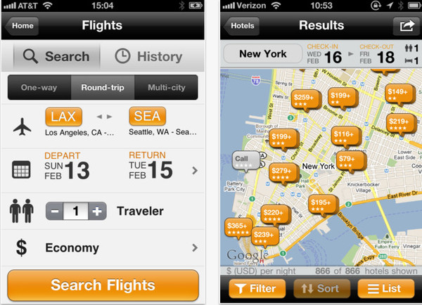 Apps para salir de viaje en iOS y Android - kayak-viajes-iphone