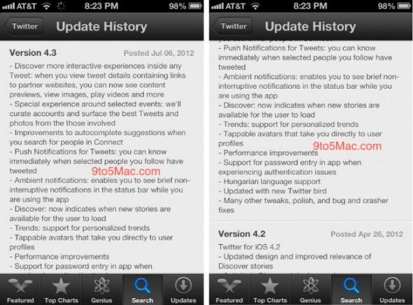 Inminente actualización de Twitter para iOS se filtra en la App Store de iOS 6 - twitteriphone_update-590x436