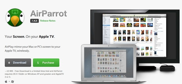 AirParrot Mac Haz AirPlay Mirroring desde Mac y Windows con AirParrot