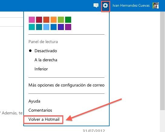 Regrear hotmail Cómo regresar a Hotmail desde Outlook