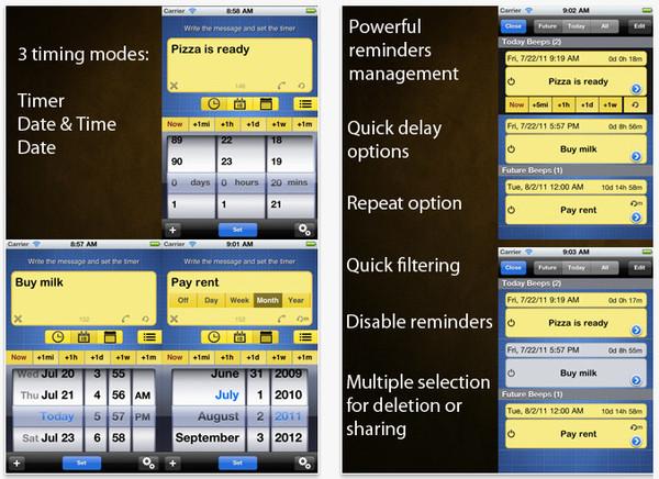 Recordatorios y administrador de tareas con Beep Me para iOS - recordatorios-iphone