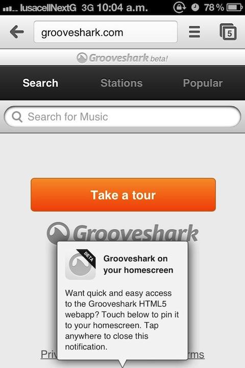 Grooveshark movil 1 Grooveshark actualiza su aplicación web para móviles [Reseña]