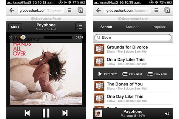 Grooveshark actualiza su aplicación web para móviles [Reseña] - Grooveshark-movil-2