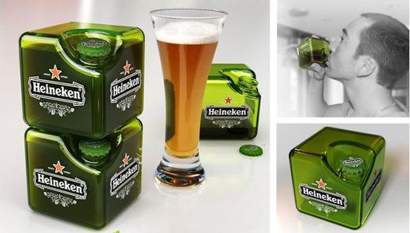 heineken botella cubo Crean prototipo de botella Heineken en forma de cubo
