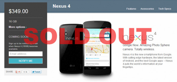 Nexus 4 de 8GB y 16GB se agota en apenas 25 minutos - Nexus-4-Sold-Out