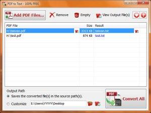 Convertir archivos PDF a texto con PDF To Text