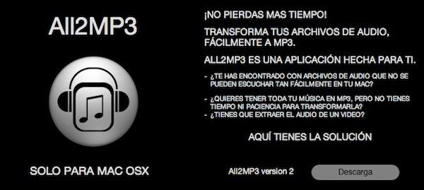 Convertir archivos de audio a MP3 con All2MP3 para Mac - All2MP3-para-Mac
