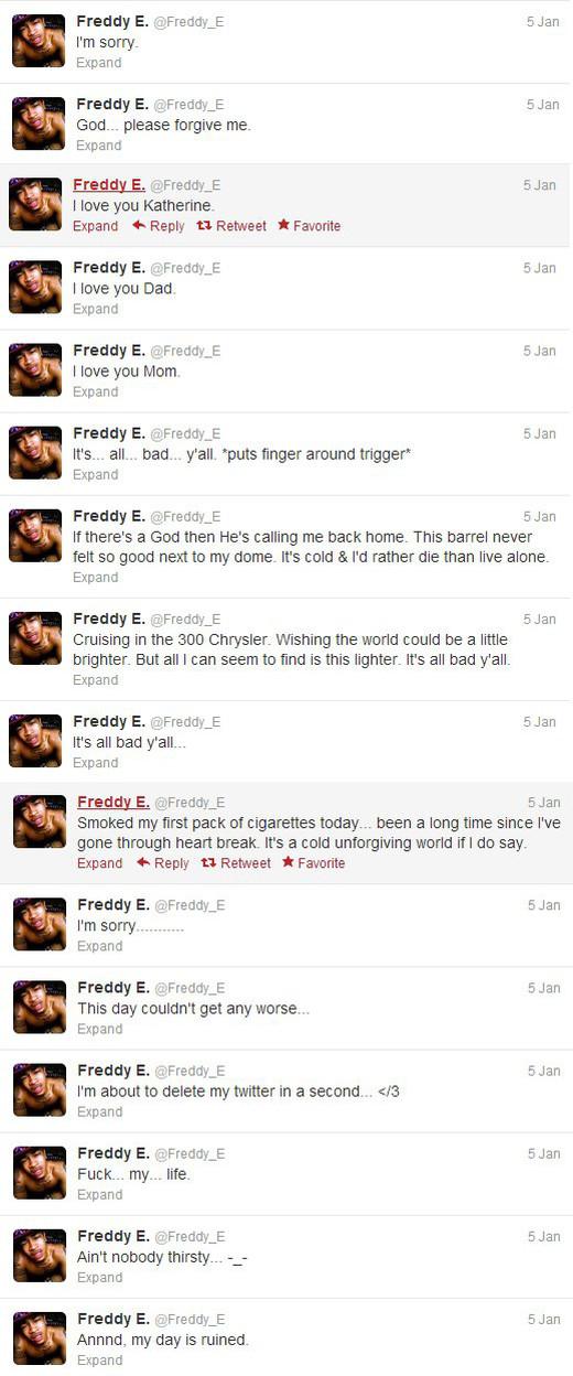 Rapero tuitea su sentir momentos antes de suicidarse - twitter-freddy-e