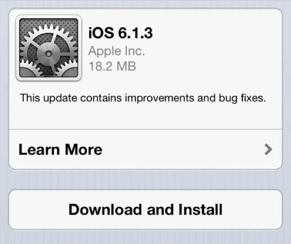 iOS se actualiza a la versión 6.1.3 - ios613update