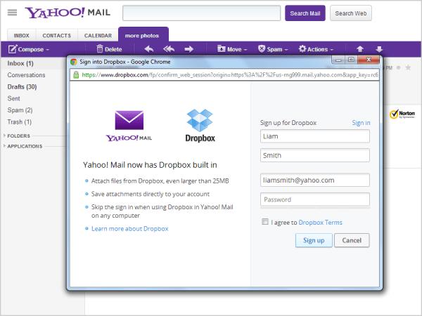 Yahoo! Mail ahora permite soporte para archivos de Dropbox - dropbox-sign-up-screen-600x450