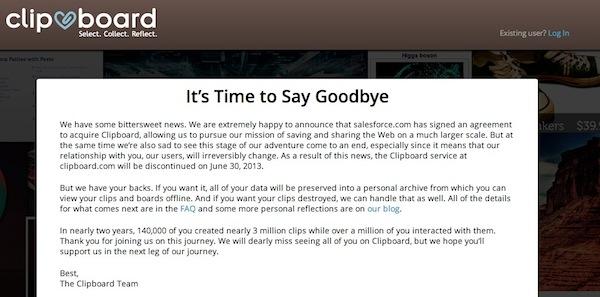 Clipboard cierra tras su compra por parte de Salesforce.com - Cierra-Clipboard