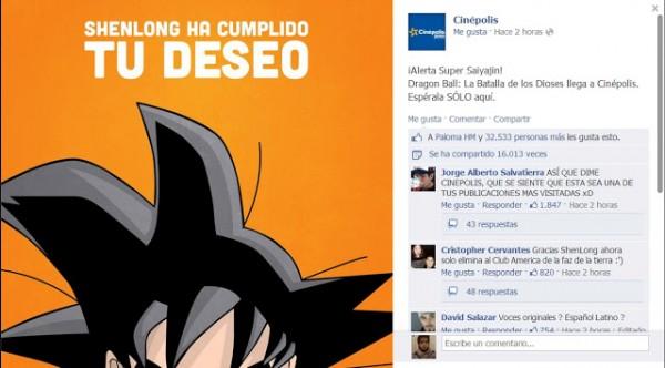 cinepola 600x332 Dragon Ball Z: La Batalla de los Dioses será estrenada en México a través de Cinépolis