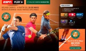 Ver el Grand Slam de tenis Roland Garros por ESPN Play de manera gratuita