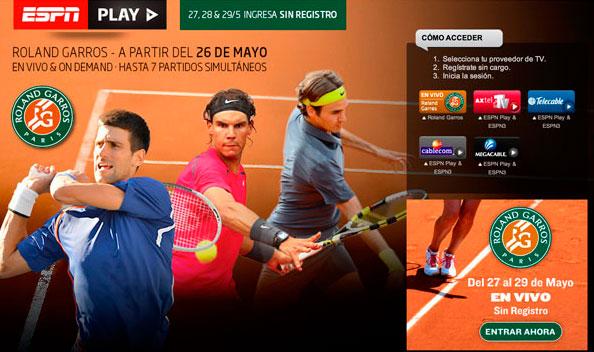 Ver el Grand Slam de tenis Roland Garros por ESPN Play de manera gratuita - roland-garros-espnplay