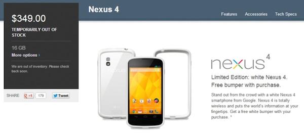 Nexus 4 blanco se agota en la Google Play Store - Nexus-4-blanco-agotado