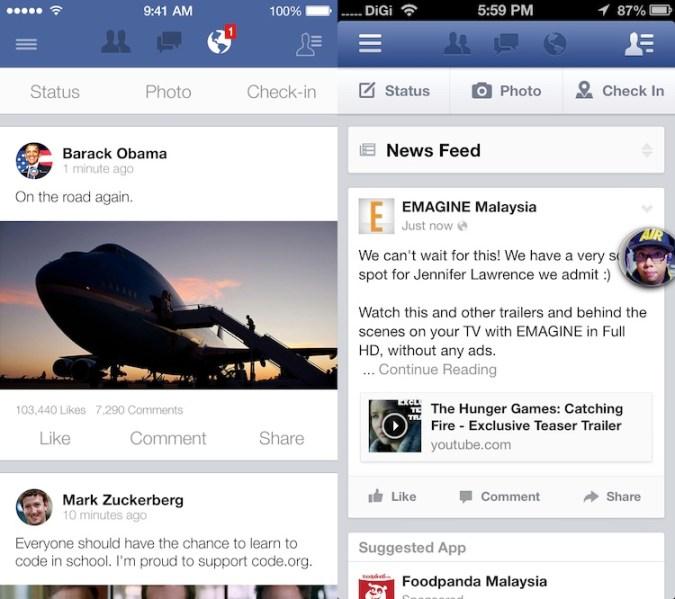 ¿Cómo se verían las aplicaciones si adoptaran la nueva interfaz de iOS 7? - Facebook-iOS-7