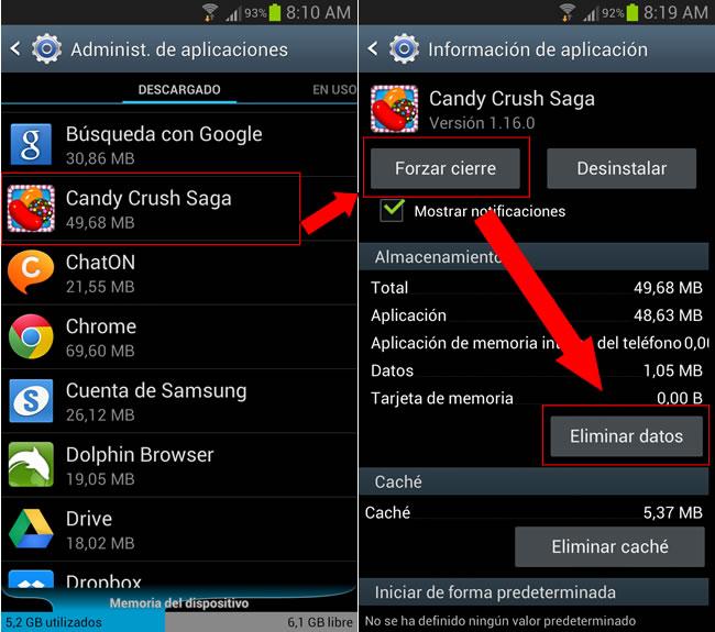 Consejos, trucos y más para superar más rápido los niveles de Candy Crush [iOS, Android & PC] - forzar-cierre-eliminar-datos-candy-crush