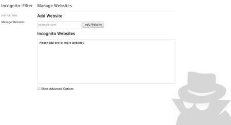 """Abrir sitios en modo incógnito automáticamente en chrome con """"Incognito-Filter"""""""