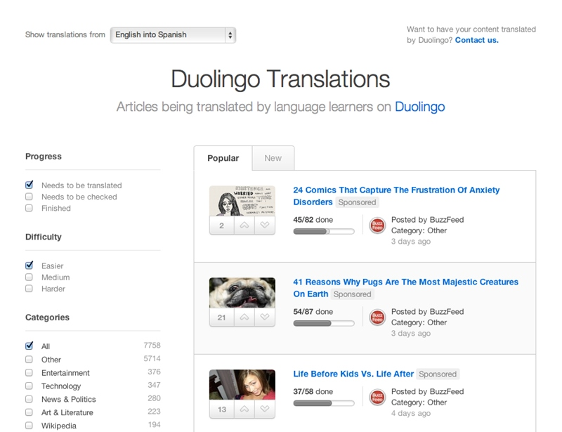Duolingo ahora traduce artículos de BuzzFeed y CNN - duolingo-translations