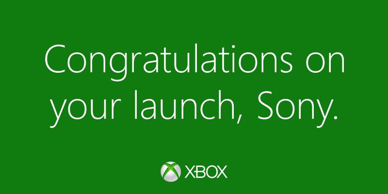 Microsoft felicita a Sony por el lanzamiento del PS4 en Twitter - Felicidades-Sony