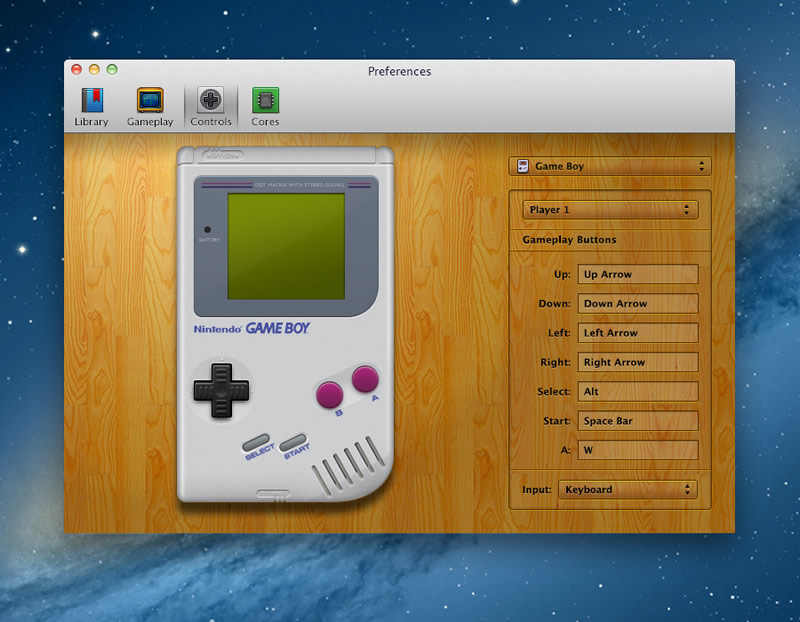 OpenEmu, emulador de Nintendo, Sega y otras plataformas para Mac - Gameboy-Controller-Preferences