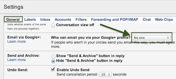 Cómo evitar que usuarios de Google+ te envíen correo por Gmail - correo-google-plus-2