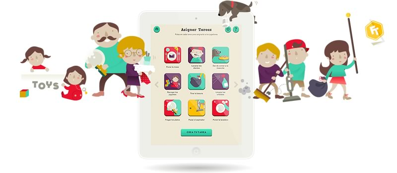 FamilyTeam, Una app de iPad para que todos ayuden en las tareas del hogar - familyapp-ipad-tareas-hogar