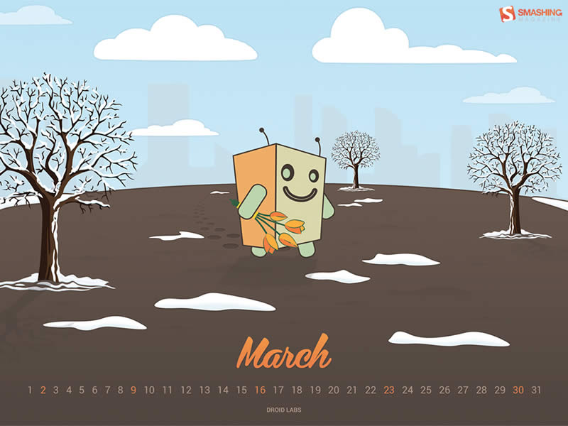 Decora tu escritorio con estos fondos con el calendario de Marzo - calendario-marzo-2014-droid-on-walk