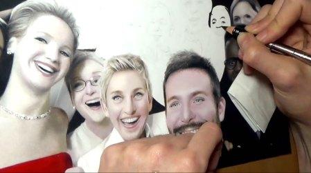 El selfie de los Oscares dibujado a mano, ¡No vas a creer que es real!