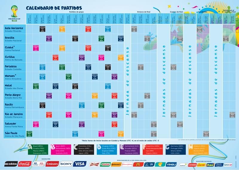 calendario partidos mundial brasil 2014 Descarga el calendario del Mundial 2014 (Fase de Grupos)