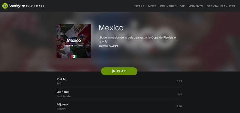 La música del Mundial Brasil 2014 y más en 'Spotify Loves Football' - copa-playlist-mexico-spotify