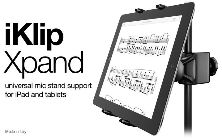 iKlip Xpand, soporte para tablets y smartphones ideal para músicos - iklip-xpand-tablet