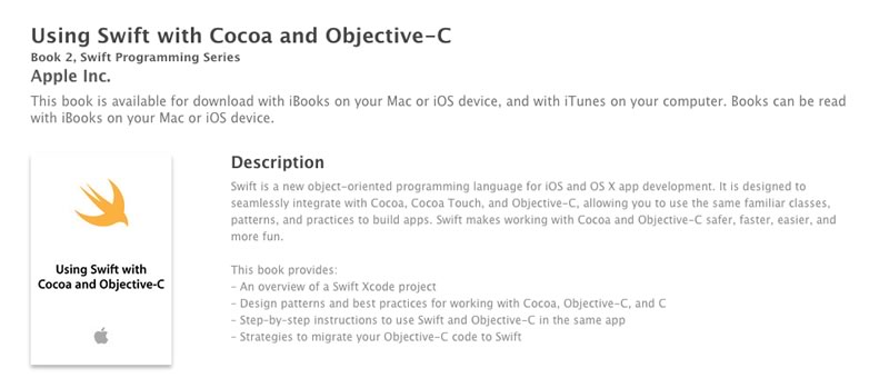 "Nuevo libro de Swift disponible gratis en iTunes ""Using Swift with Cocoa and Objective-C"" - libro-de-swift-using-swift-with-cocoa-and-objetive-c"