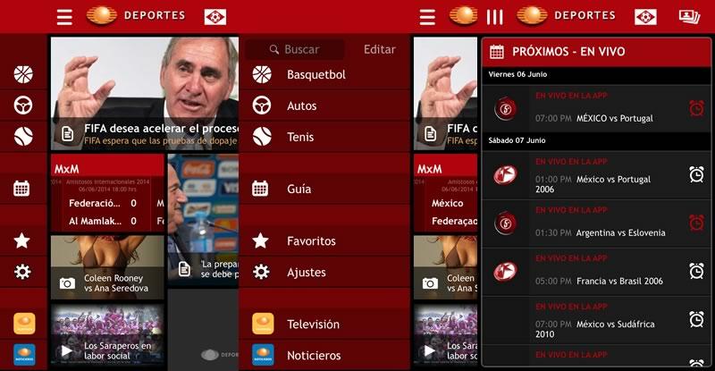 partidos del mundial en vivo desde la app televisadeportes La app de Televisa Deportes se actualiza y añade un calendario de partidos en vivo desde la app