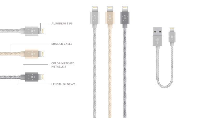 Nuevos cables metálicos MIXIT Lightning para iPhone, iPad y iPod touch presentados por Belkin - cables-para-iphone-mixit-belkin