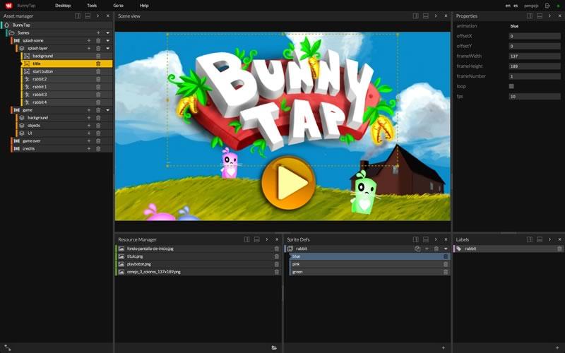 WiMi5, una plataforma para crear juegos HTML5 gratis - editor-de-escenas-de-wimi5