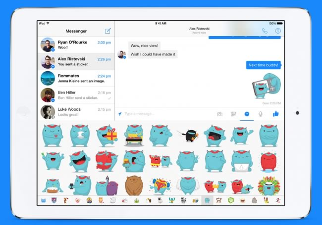 facebook messenger para ipad stickers Facebook Messenger para iPad ya disponible
