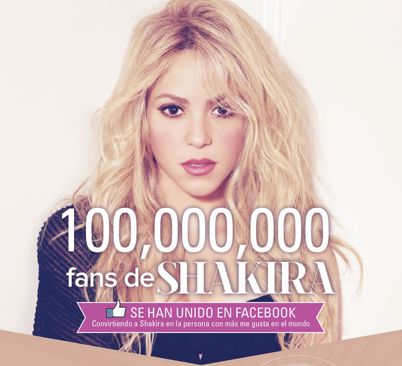 Shakira, se convirtió en la celebridad con más likes en Facebook - shakira-100-millones-facebook