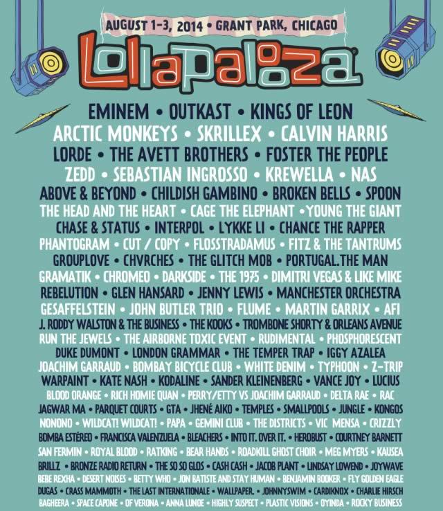 Sigue Lollapalooza 2014 en vivo por internet del 1 al 3 de Agosto ¡Imperdible! - cartel-lollapalooza-2014