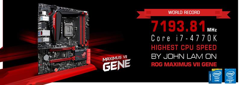 Record Mundial Z97 MVIIGene ASUS rompe record Mundial con la tarjeta madre Z97 Maximus VII Gene