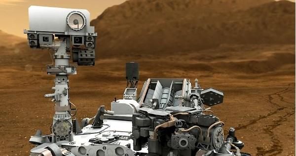 Curiosity fotografía roca con forma de semáforo en Marte - curiosity-en-marte