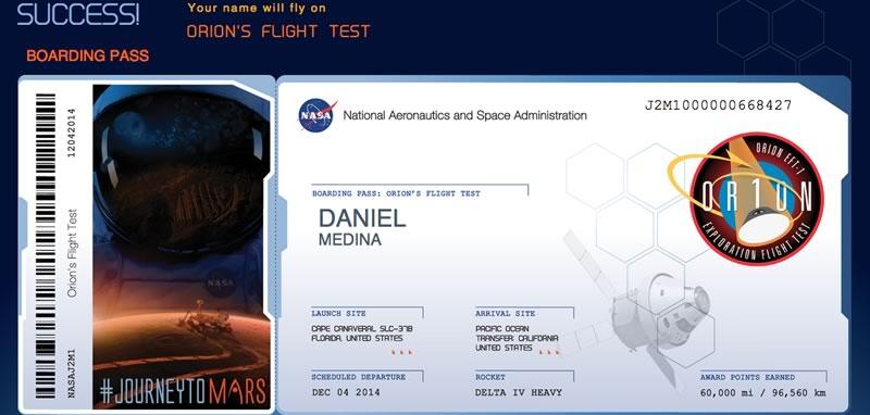Envía tu nombre al espacio en el próximo viaje de Orion, la NASA invita - Enviar-nombre-a-Marte-NASA