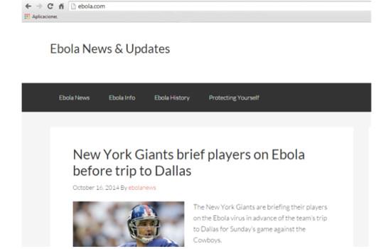 Pretenden vender dominio ebola.com a 150,000 dólares - pagina-ebola