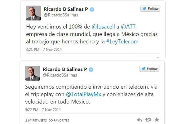 AT&T compra Iusacell por 2 mil 500 millones de dólares  - twitter-ricardo-salinas