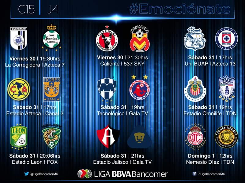 Partidos de la jornada 4 del Clausura 2015 y sus horarios - Partidos-Jornada-4-Clausura-2015-Liga-MX