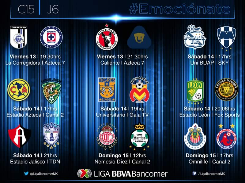 Partidos de la Jornada 6 del Clausura 2015 y sus horarios - Partidos-de-la-Jornada-6-Clausura-2015