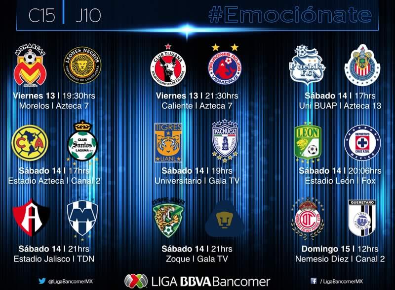 Estos son los partidos de la Jornada 10 del Clausura 2015 en la Liga MX - Partidos-Jornada-10-Clausura-2015-Liga-MX